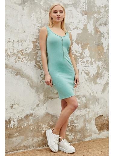 Reyon REYON Kadın Yarım Fermuarlı Askılı Elbise Mint Yeşili Yeşil